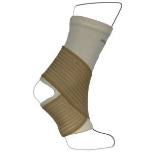White Ankle Bandage Support with Adjustable Straps